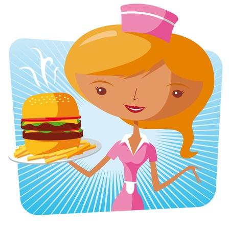 comida americana: Camarera de comida r�pida - hamburguesa