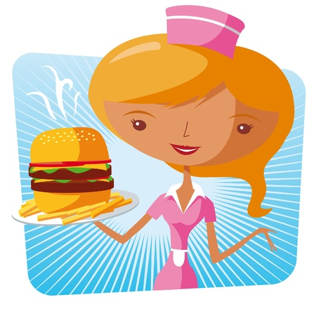 Fast food waitress - burger Vector