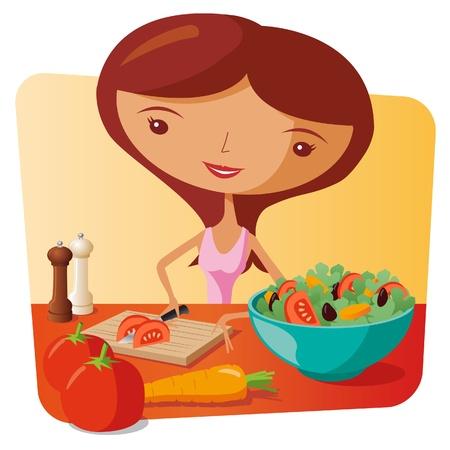 aliments droles: Femme Faire Salade