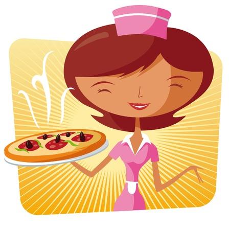 mozzarelle e formaggi: Cibo cameriera veloce con una pizza