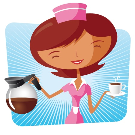 waitresses: coffee waitress Illustration