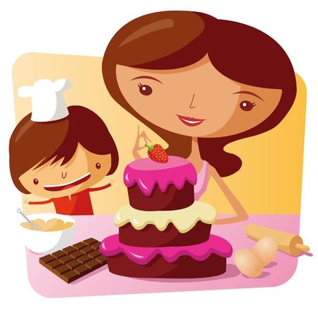 mujeres cocinando: Hornear juntos - madre e hija Vectores
