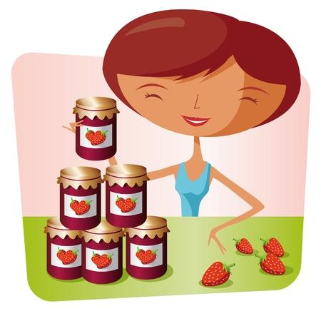 conserve: Femme faisant la confiture de fraise