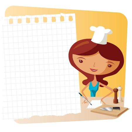 mujeres cocinando: lista de compras para la cena Vectores