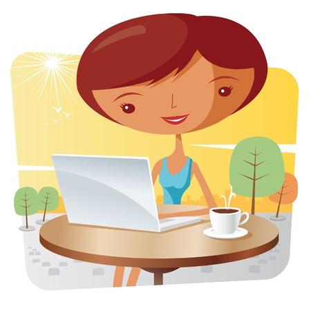fiestas electronicas: Mujer con un ordenador port�til y un caf�