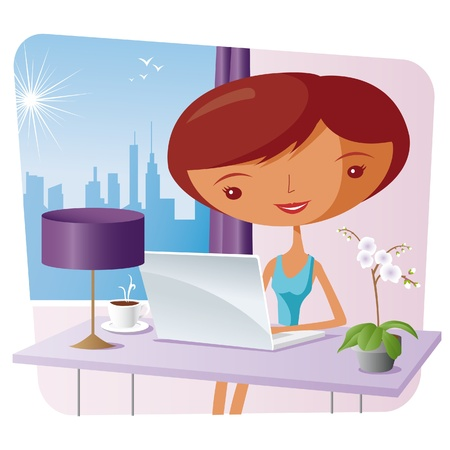 computer cartoon: elegant woman at home with a laptop Illustration