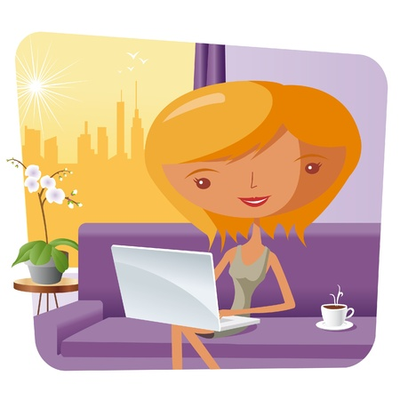 girl laptop: elegant woman at home with a laptop Illustration