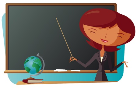 School Teacher With Blackboard Vector