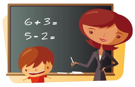 School Teacher and schoolboy - Mathematics Vector