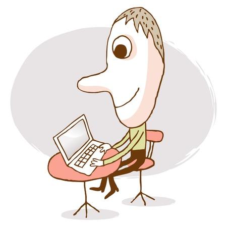 hombre escribiendo: hombre de negocios con un ordenador port�til Vectores