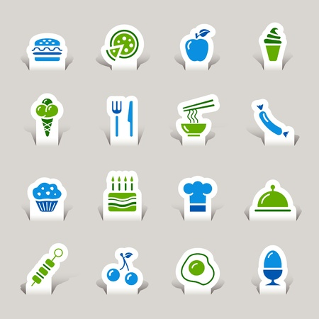 asia food: Paper Cut - Food Icons Illustration
