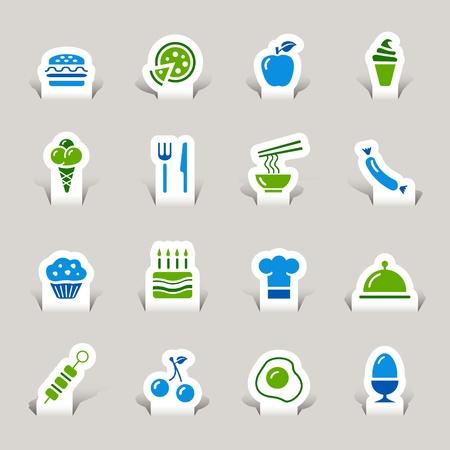 Paper Cut - Food Icons Illustration