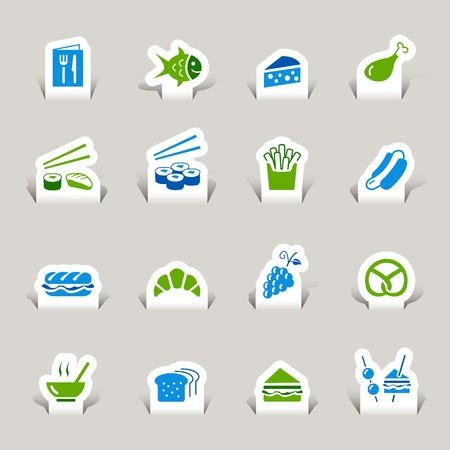 french fries plate: Paper Cut - Food Icons Illustration