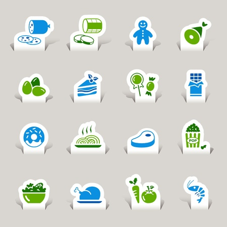 pasta: Paper Cut - Food Icons Illustration