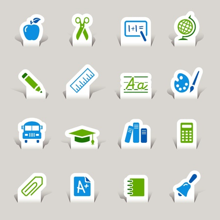 Paper Cut - School Icons Vector