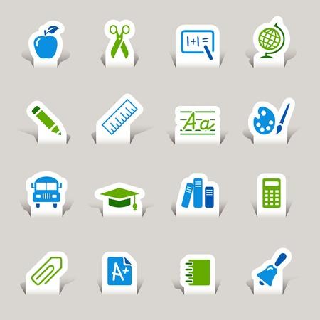 calculation: Paper Cut - School Icons