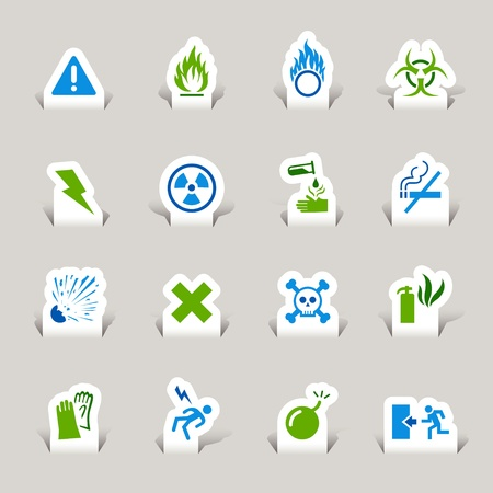 radiacion: Paper Cut - Iconos de advertencia Vectores