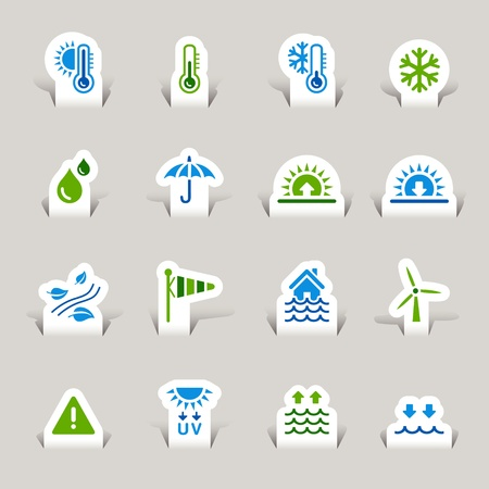 high temperature: Paper Cut - Weather Icons Illustration