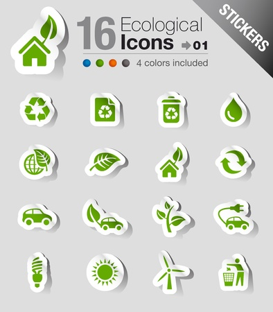 icone maison: Stickers - Ic�nes �cologiques Illustration