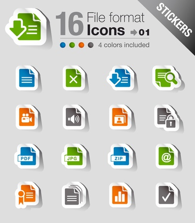 Stickers - File format icons Vector