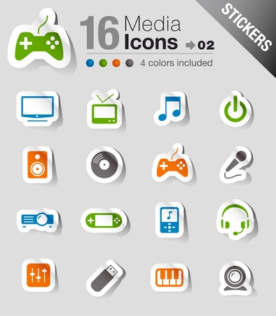 Stickers - Media Icons Stock Vector - 11475949