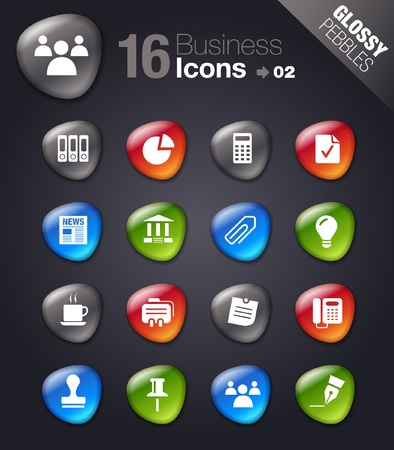 Glossy Pebbles - Office and Business icons Vector