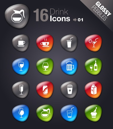 Glossy Pebbles - Drink Icons Vector