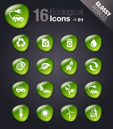 Glossy Pebbles - Ecological Icons Vector