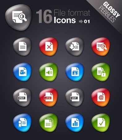 Glossy Pebbles - File format icons Vector