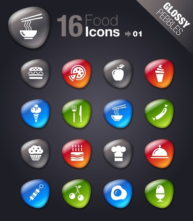 Glossy Pebbles - Food Icons Vector