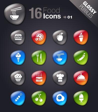 restaurant icons: Glossy Pebbles - Food Icons Illustration