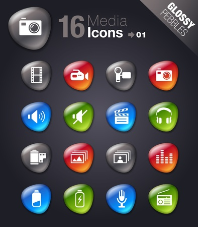 Glossy Pebbles - Media Icons Vector