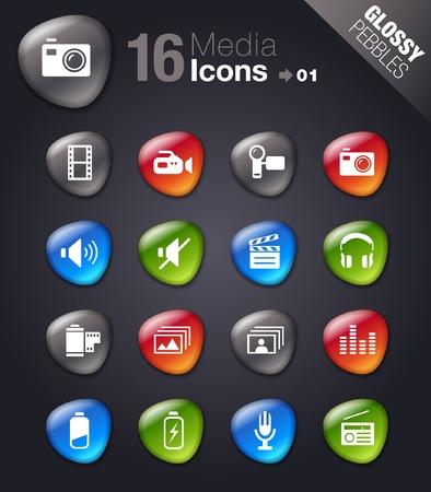Glossy Pebbles - Media Icons Stock Vector - 11475986