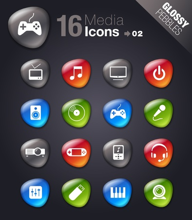 Glossy Pebbles - Media Icons Illustration