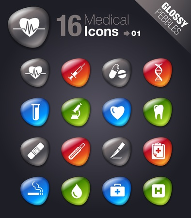 heart medical: Glossy Pebbles - Medical icons  Illustration