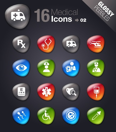 Glossy Pebbles - Medical icons  Vector