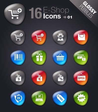 e shop: Glossy Pebbles - Shopping icons Illustration