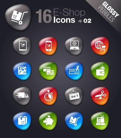 Glossy Pebbles - Shopping icons Illustration