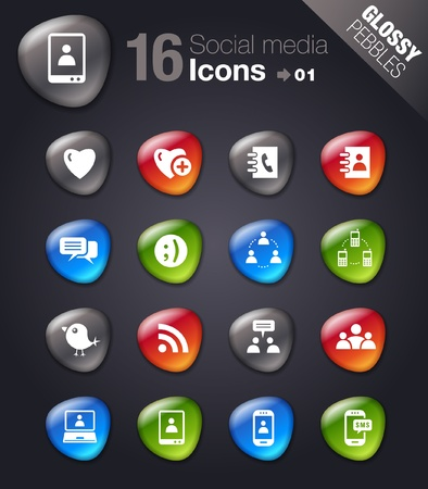 Glossy Pebbles - Social media icons Vector
