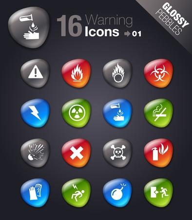 voltage gray: Glossy Pebbles - warning icons