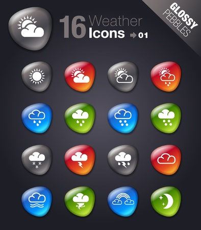 Glossy Pebbles - Weather icons Vector