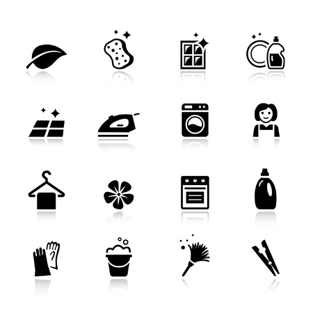 haush�lterin: Basic - Reinigung Icons Illustration