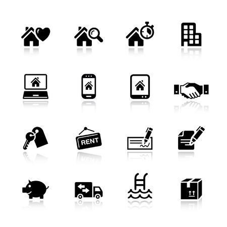 nieruchomosci: Podstawowe - Real ikony nieruchomoÅ›ci Ilustracja