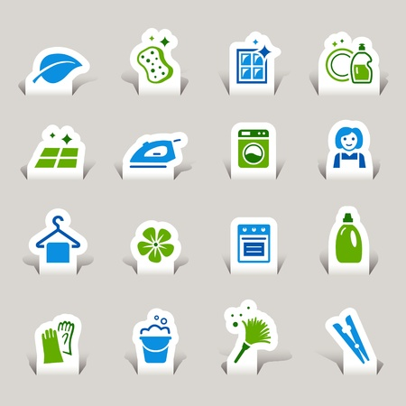 Paper Cut - Cleaning Icons Stock Vector - 12174622