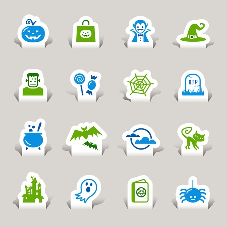 Paper Cut - Halloween Icons Vector