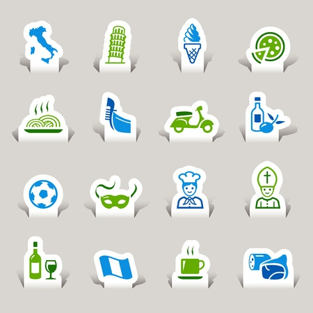 Paper Cut - Italian Icons Vector