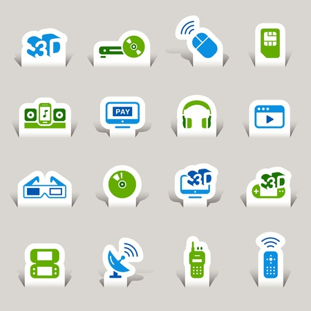 vod: Paper Cut - Media Icons Illustration