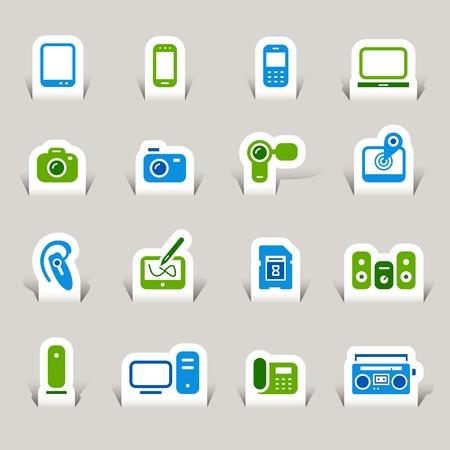 mobile headset: Paper Cut - Iconos de los medios de comunicaci�n Vectores