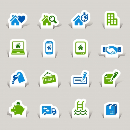 Paper Cut - Real estate icons Stock Vector - 12174620
