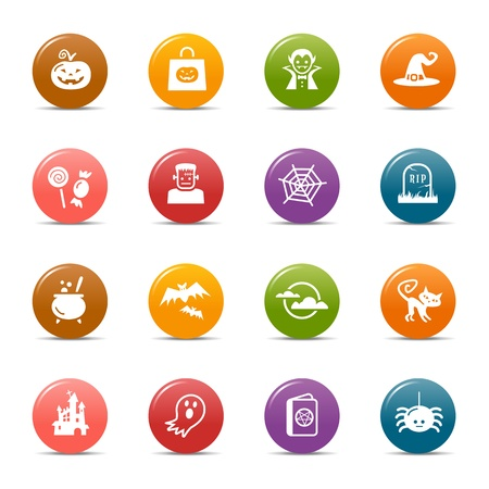 october 31: Colored Dots - Halloween Icons Illustration